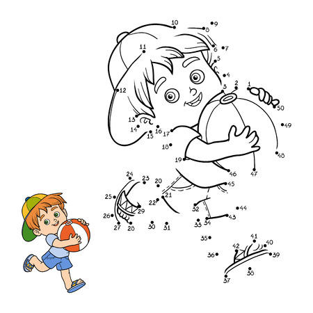 inflatable ball: Numbers game for children, dot to dot education game. Little boy with inflatable ball Illustration