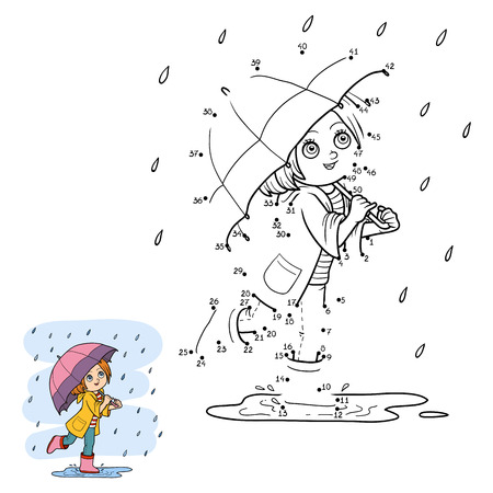 Numbers game for children, education dot to dot game. Girl running with an umbrella in the rain