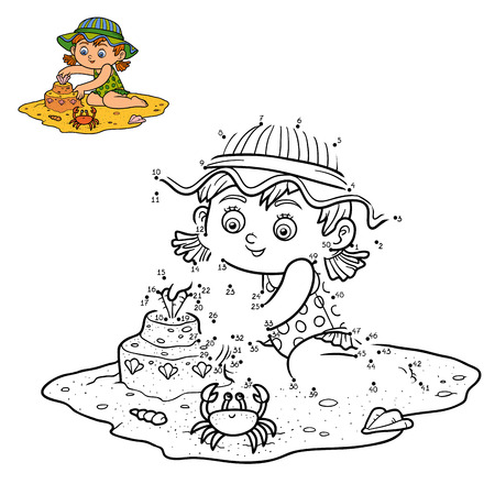 sand castle: Numbers game for children, dot to dot education game. Little girl builds a sand castle on the beach