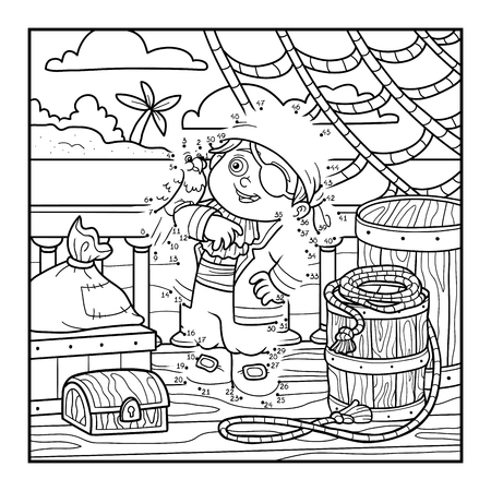 Numbers game for children, dot to dot education game. Pirate and Parrot are on the deck of a ship
