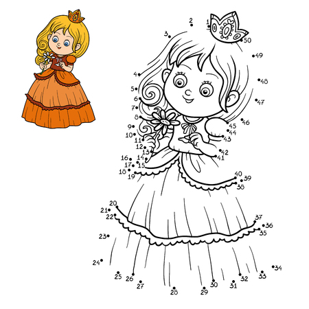 little princess: Numbers game for children, dot to dot game, little princess with a flower Illustration