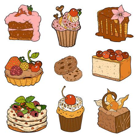 trozo de pastel: Vector colección de colores de pasteles dulces. Tortas, pastelitos y pastel de queso