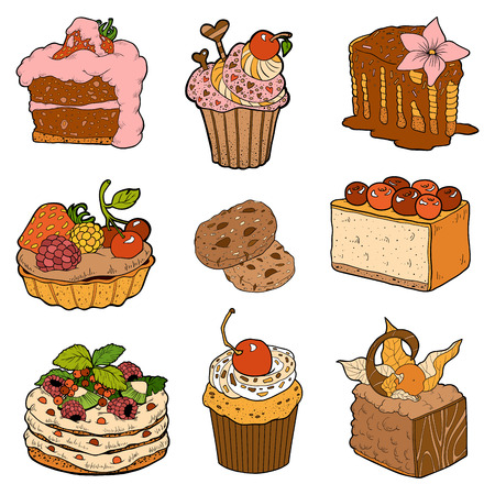 cakes and pastries: Vector color collection of sweet pastries. Cakes, cupcakes and cheesecake Illustration