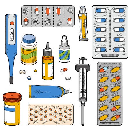 medical instruments: Vector color set of medical items (medical instruments, tablets, pills, drugs, syringe, thermometer, vector color elements) Illustration