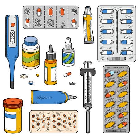 Vector color set van medische artikelen (medische instrumenten, tabletten, pillen, drugs, spuit, thermometer, vector kleurelementen)