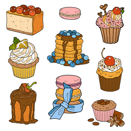 sweet pastries: Vector color collection of sweet pastries. Cakes, cupcakes and cheesecake Illustration