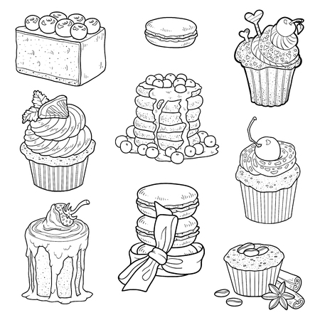sweet pastries: Vector black and white collection of sweet pastries. Cakes, cupcakes and cheesecake Illustration