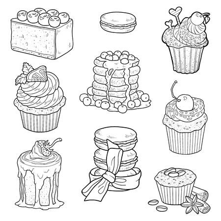 pasteles: Vector blanco y negro colección de pasteles dulces. Tortas, pastelitos y pastel de queso Vectores