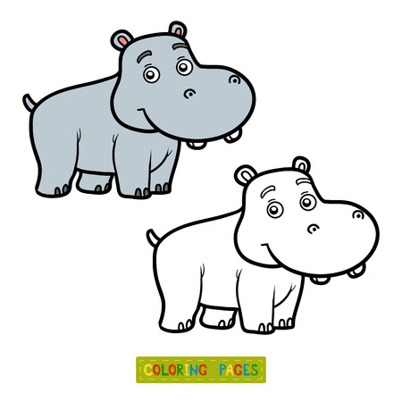 behemoth: Coloring book for children, coloring page with little hippo