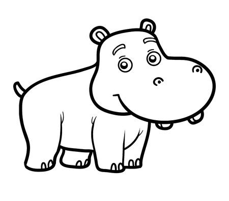 libro para colorear para los niños, para colorear con el pequeño hipopótamo Ilustración de vector
