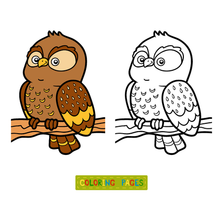 nestling birds: Coloring book for children, coloring page with little owl