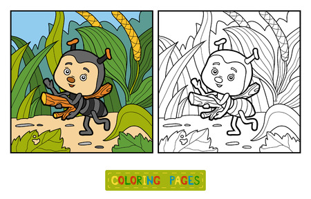 Coloring book for children, coloring page. Little ant on the meadow