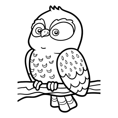coloration: Coloring book for children, coloring page with little owl