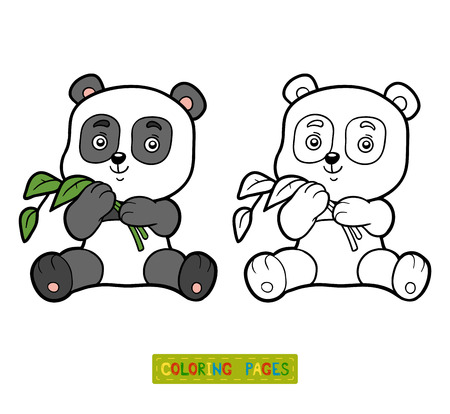 colorless: Coloring book for children, coloring page with little panda