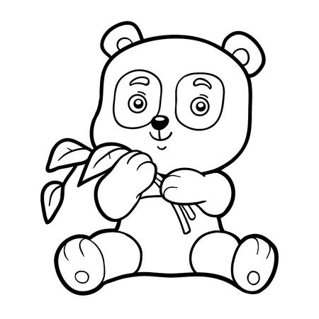 Malbuch für Kinder, Malvorlagen mit kleinen Panda Standard-Bild - 57730783