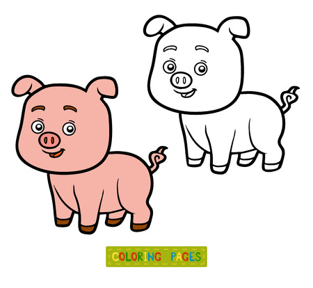 children book: Coloring book for children, coloring page with little pig