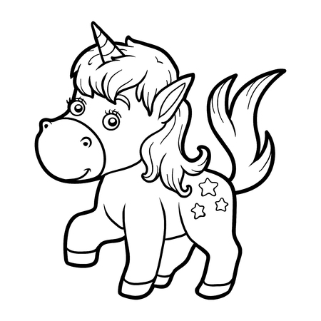 Coloring book for children, coloring page with little unicorn Illustration