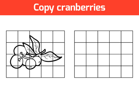 cranberries: Copy the picture, education game for children. Fruits and vegetables, cranberries