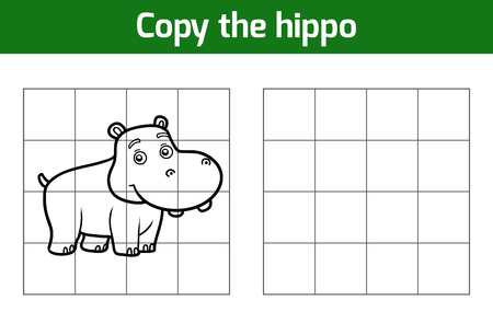 behemoth: Copy the picture, education game for children. Animal characters, hippo Illustration