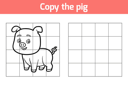 rotund: Copy the picture, education game for children. Animal characters, pig Illustration