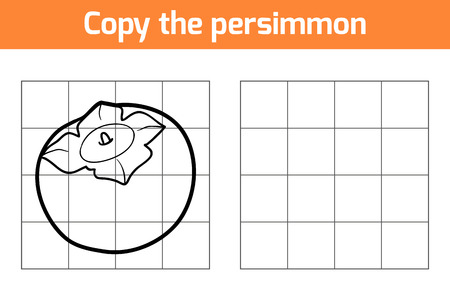 persimmon: Copy the picture, education game for children. Fruits and vegetables, persimmon Illustration