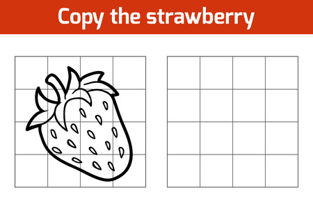 strawberry cartoon: Copy the picture, education game for children. Fruits and vegetables, strawberry Illustration