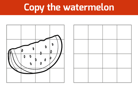 frutas divertidas: Copiar la imagen, juego de la educación para los niños. Las frutas y verduras, la sandía