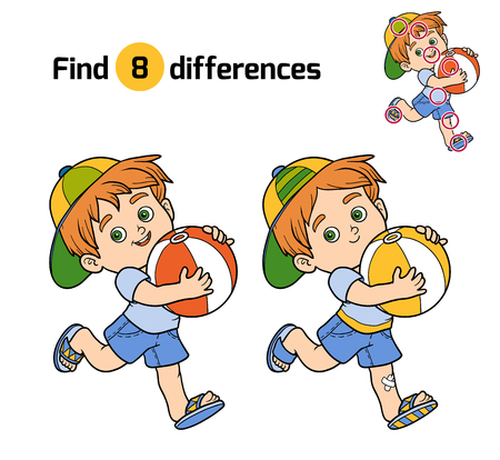 find: Find differences, education game for children. Little boy with a ball