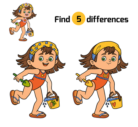 differences: Find differences, education game for children. Girl on the beach Illustration