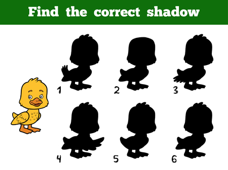 correct: Find the correct shadow, education game for children. Little duck Illustration