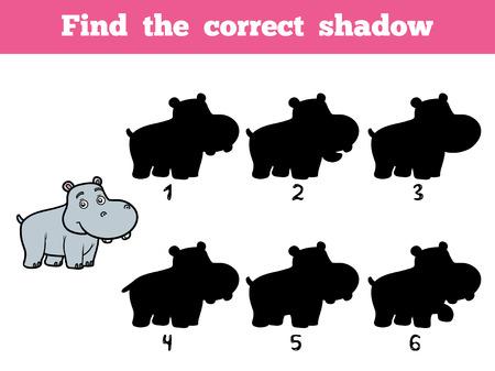 hippopotamus: Encuentra la sombra correcta, juego de la educación para los niños. Cerdito