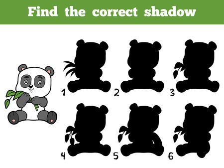 cartoon panda: Find the correct shadow, education game for children. Little panda