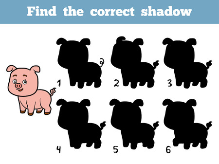 correct: Find the correct shadow, education game for children. Little pig