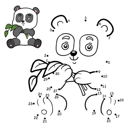 Juego de números, juego de educación punto a punto para niños. Pequeño panda Ilustración de vector