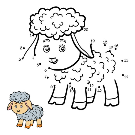 black and white farm animals: Numbers game, dot to dot education game for children. Little sheep