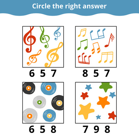 mathematic: Counting Game for Preschool Children. How many objects on the picture, education game with music items