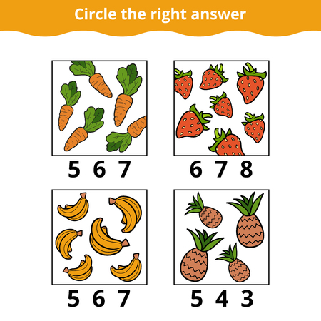 enumerate: Counting Game for Preschool Children. How many objects on the picture, education game about fruits and vegetables Illustration