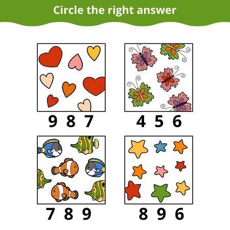 enumerate: Counting Game for Preschool Children. How many objects on the picture, education game Illustration