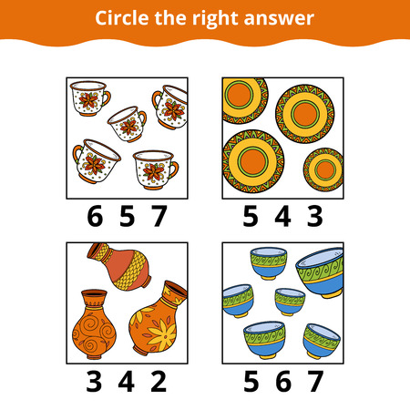 mathematic: Counting Game for Preschool Children. How many objects on the picture, education game about dishes Illustration