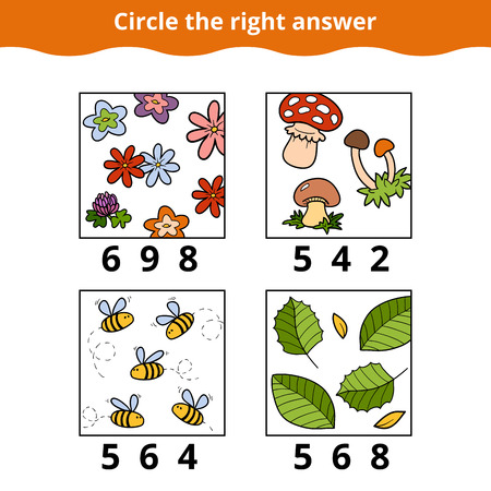 mathematic: Counting Game for Preschool Children. How many objects on the picture, education game Illustration