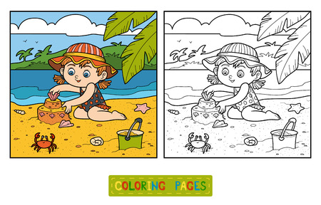 sand: Coloring book for children, little girl builds a sand castle on the beach