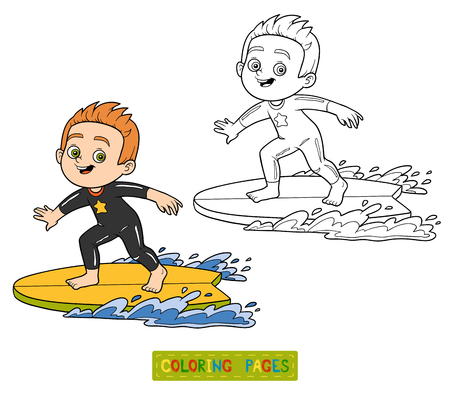 Coloring book for children. A boy riding a surf Illustration