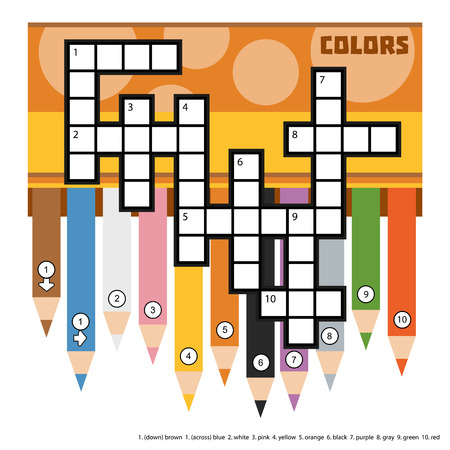 Vector color crossword, education game for children about primary colors. Crossword with colored pencils.
