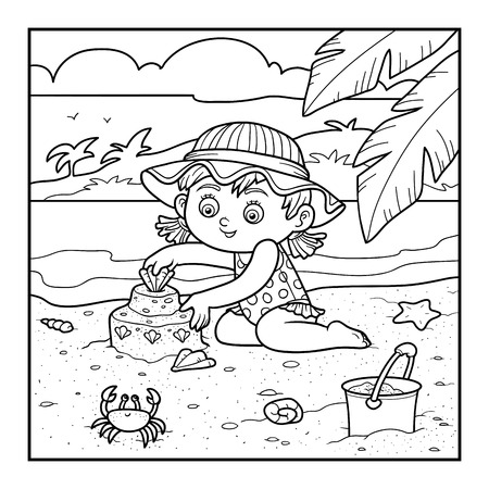 enfant maillot de bain: Coloring book for children, little girl builds a sand castle on the beach