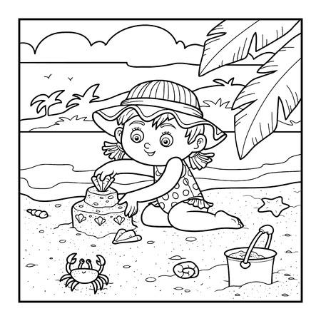 maillot de bain: livre de coloriage pour les enfants, petite fille construit un château de sable sur la plage Illustration