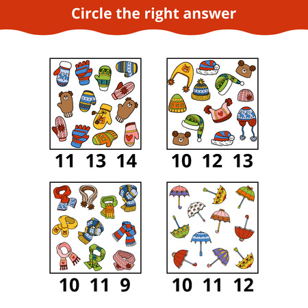 Counting Game for Preschool Children. How many objects on the picture, education game about the accessories Vectores