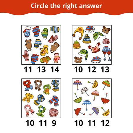 logica: Contando juego para niños en edad preescolar. ¿Cuántos objetos en la imagen, juego de la educación sobre los accesorios Vectores