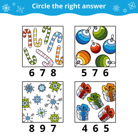 Contando juego para niños en edad preescolar. ¿Cuántos objetos en la imagen, juego de educación sobre la Navidad Foto de archivo - 59235489