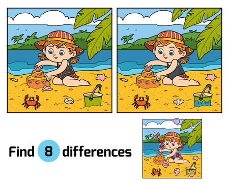 Find differences, education game for children, little girl builds a sand castle on the beach
