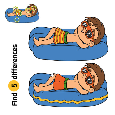 sunglasses: Find differences, education game for children. Little boy on lying inflatable mattress Illustration
